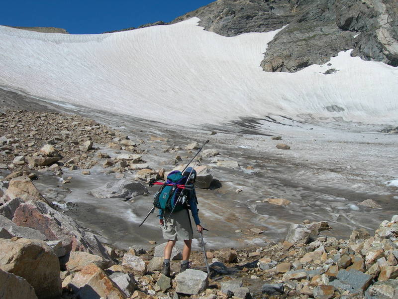 Looking up at Ptarmigan Glacier from the base. July 30, 2006.