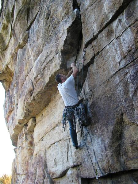 Dan Foster onsighting Persitent, .11d.  Shawanagunk, Lost City, NY.  First 5.11 in the Gunks.
