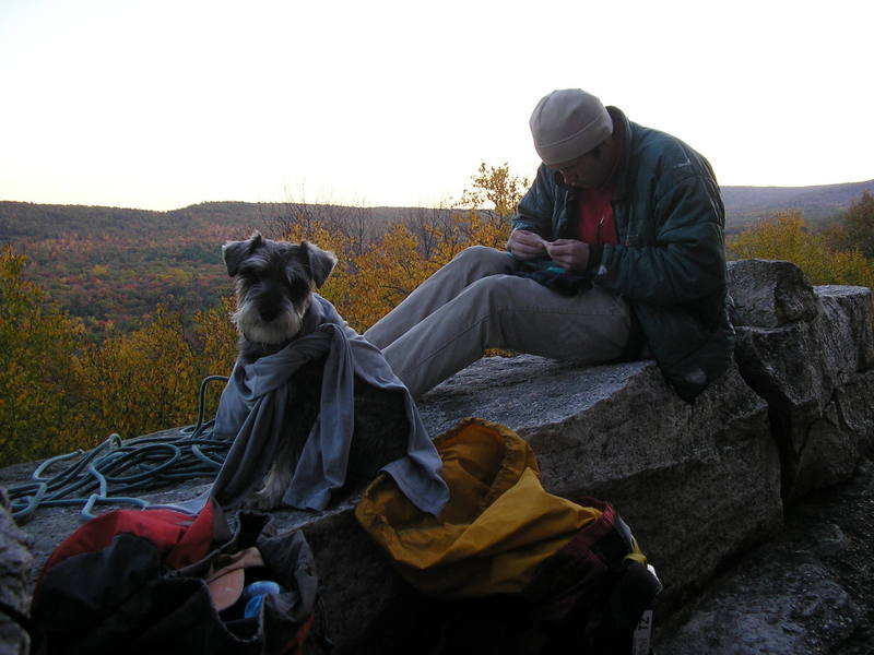 Barley and Ty Mack rounding off another amazing day at The Lost City, The Gunks.