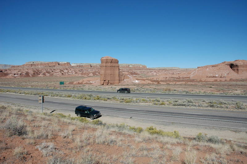 Looking north across the interstate.  Virgin Roadtrip is on the other side of the tower in the picture.