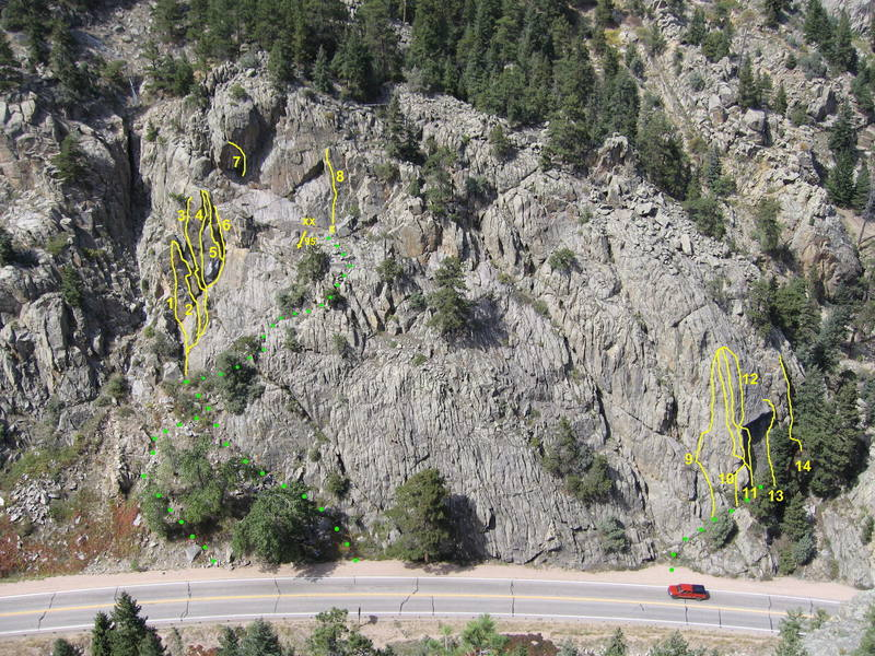 """Boulder Slips Route Overview<br> <br> 1. Edges and Ledges, 8, 8 bolts<br> 2. Brand New Bosch, 9, 6 bolts<br> 3. Party Time!, 9, 5 bolts & gear to 3.5""""<br> 4. Minutia, 8, gear to 3""""<br> 5. Minutia Arete, 9+, TR<br> 6. Pumpkin Corner, 9, gear to 2""""<br> 7. La Lune, 12d, 5 bolts<br> 8. Sunlight Arete, 10b, 5 bolts<br> 9. The Throttle, 11 R, TR<br> 10. Threshold Variation, 9+ R, TR<br> 11. My Way, 9, 4 bolts & gear to 2""""<br> 12. Boulder Slips, 9 R, gear to 2""""<br> 13. Where's Bob?, 10, 5 bolts & 2 green Camalots<br> 14. The Ride, 10b, 5 bolts & gear to 2"""""""