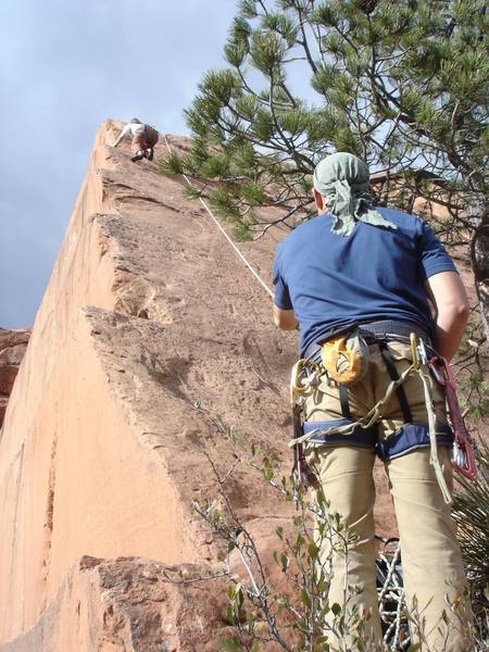 Fun climb along the arete. Compared to the  5.6s in the canyon, this seems closer to a 5.6--but it's still easy.