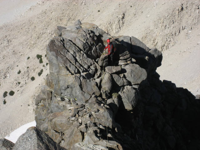 Looking down on the top of the traditional 2nd (????) belay. You can get here in less pitches simulclimbing some easy sections. Venusian Blind, Temple Crag, High Sierra, 2006. Photo by Avery Nelson.