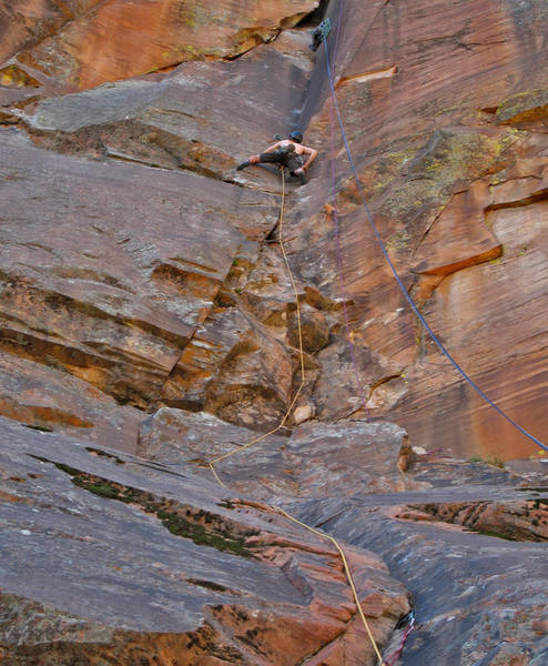 """The crux of the """"second"""" pitch. (Run the 5.6 first pitch and the 5.12 second pitch together.)"""