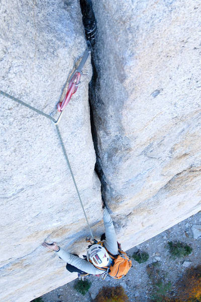 Mark Patterson nears the anchor atop Pitch 3.  The pitch ends with fifty feet of offwidth-ish crack climbing (4-inches wide).  Extra 3.5-4 inch gear allows this section to feel nice and cozy.