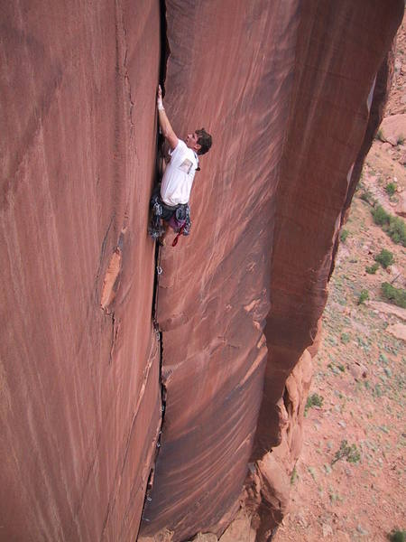 Rich on one of the finest cracks in the Moab area.
