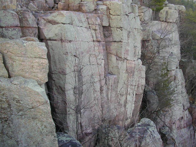 Part of the rampart. The Good, the bad, and the Jacked climbs the black streak behind skinny tree on the left.  The second part of Cracker Jack can be seen in the middle.  And Wild West Homo is the face on the Far right.  This is looking at it from the top of Son of Great Chimney.