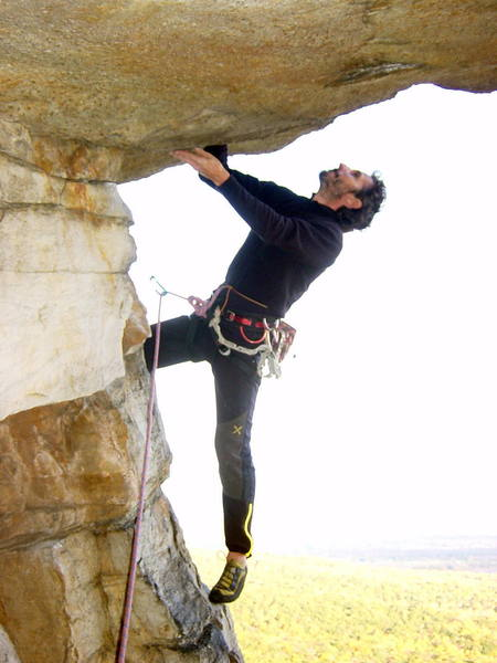 Mauro beneath the second pitch of Bonnie's Roof Direct.