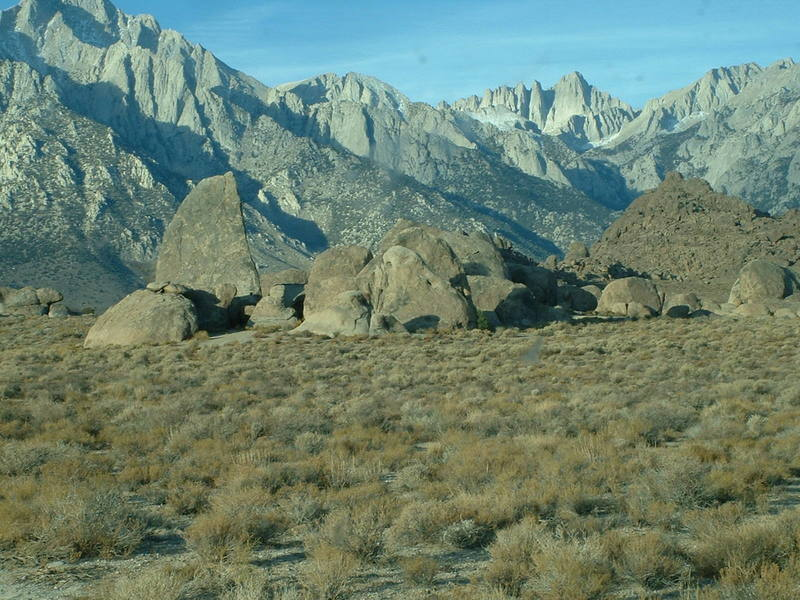 Shark Fin Arete,  Alabama Hills with Whitney acting as the backdrop