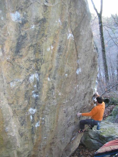 Mike Gasch about to start moving left into the crux area.