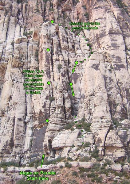 Overview of Algae on Parade, showing the easiest descent route.