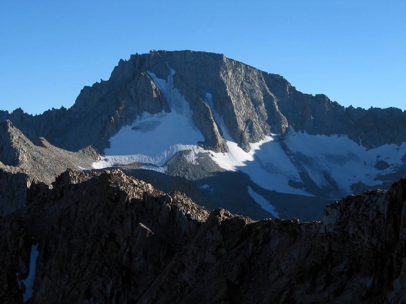 North face of Mt. Darwin. The ridge to the right leads to Mt. Mendel.