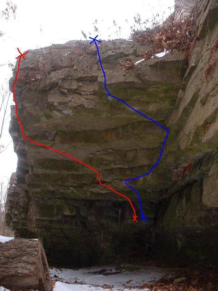 The Overhang follows the red line. This is probably the best boulder route in High Cliff.