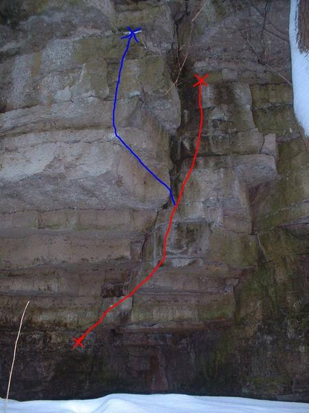 This is Calm Like a Bomb. There are a couple variations to this route. You can either stay committed to the face, or you can cut left after the big flake and then move up.