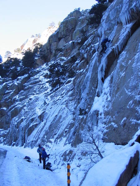 Howard Burkhardt enjoying this route in awesome verglas cond., following Kevin Coopers FA. WI5