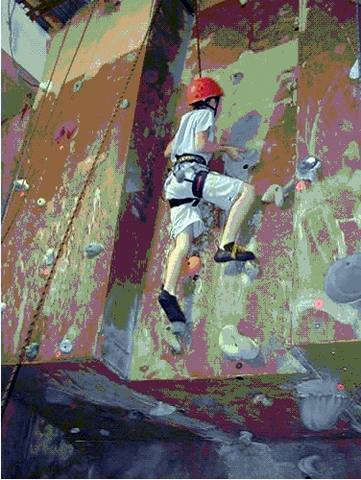 Climbing an overhang at VS