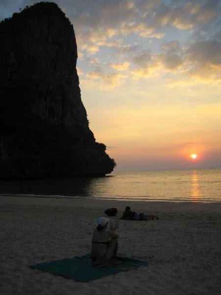 West Railay beach at sunset.  Thaiwand wall in background