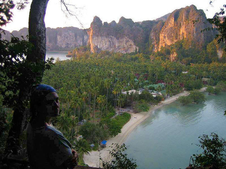East Railay Beach at sunset.  The high tide makes it much prettier.  At low tide, it's hundreds of yards of mud.