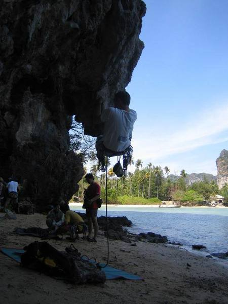 The fun part is getting off the ground - the rest of the pitch is rather forgettable and easy.  East Railay beach in background