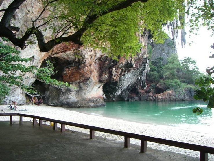 Phra Nang Beach at the end of the path with a view of the Princess cave.