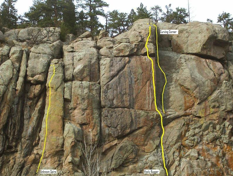Caddis Cliff showing the known routes.
