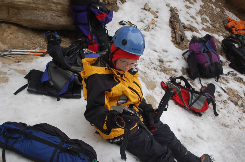 12 year old Christian at the bottom getting ready for his turn on the ice.