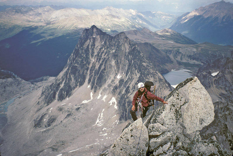 High on the ridge with Brenta Spire and Cobalt Lake in the background.<br>