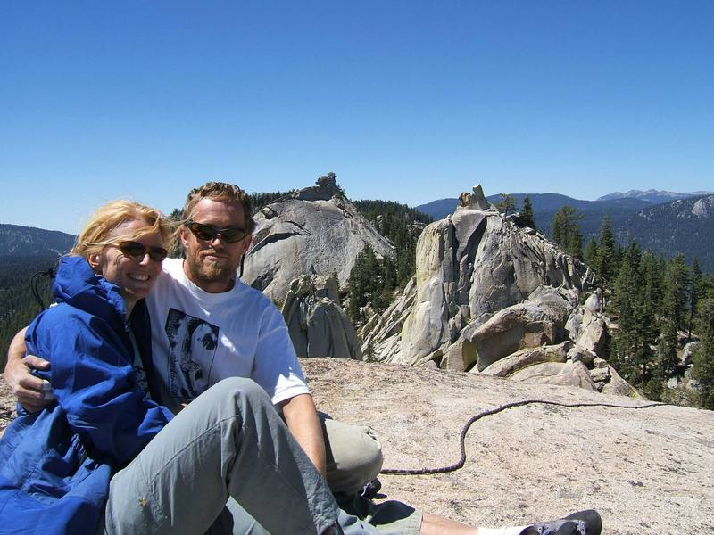 Hanging out with Karin on the summit of Warlock Needle. Photo by Josh Janes.