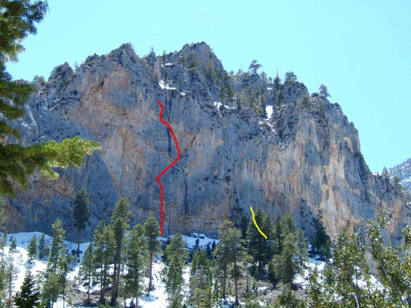 Left side of the Imagination Wall, Mt. Charleston. Red line is Learning to Fly 5.10d, yellow is unknown 5.8.