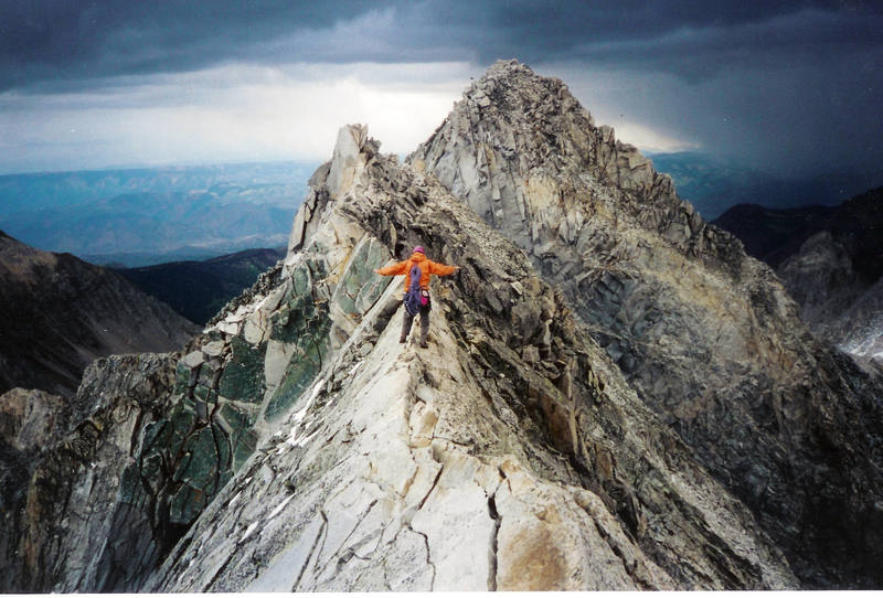 Josh Howell descending the Knife Ridge after blasting the NW Buttress in October, '95 or so.  We got absolutely hammered by weather shortly below K2.