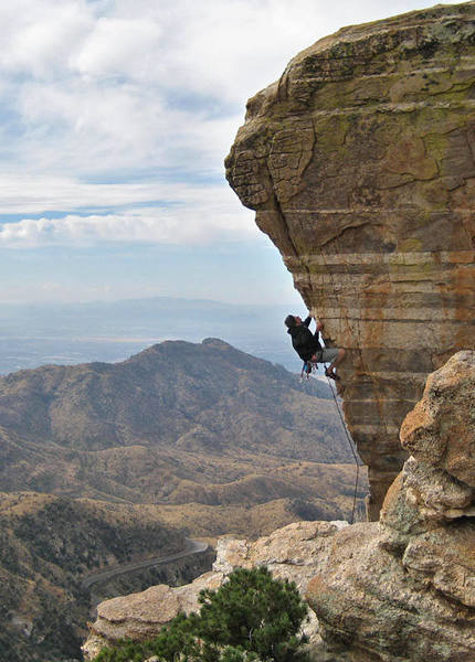 Caleb Bechman setting the record for the coldest and windiest ascent of Steve's Arete.  Photo by Walter Pafford.