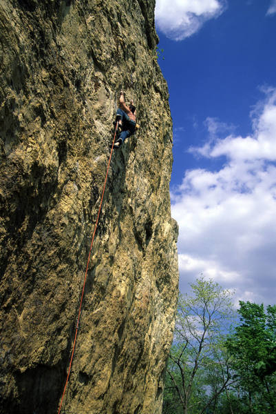 Adam Therneau on the crux moves. May 2006.