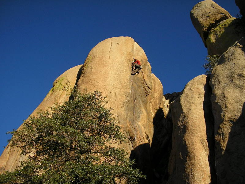 JJ on Fred 12a, Granite Dells, High Rappel Wall, Prescott AZ