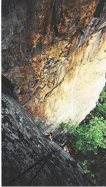Mike, AKA bigwallgumbie, climbing up Nutrasweet.