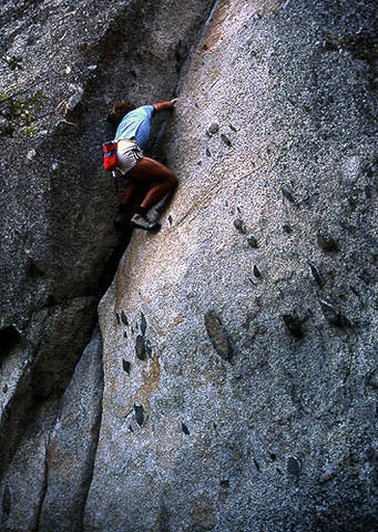 """Rick Cashner soloing """"Stone Groove""""-Yosemite Valley.<br> Photo by Blitzo."""