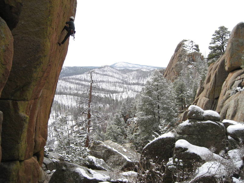 Should have gone ice climbing according to the snow/ice choked squeeze above me!!! Can you say whip?<br> <br> Photo: Mike Hannig / [[climber73]]105936281.