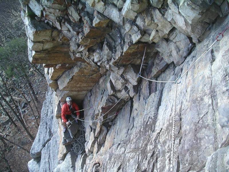Looking back at the P2 belay.