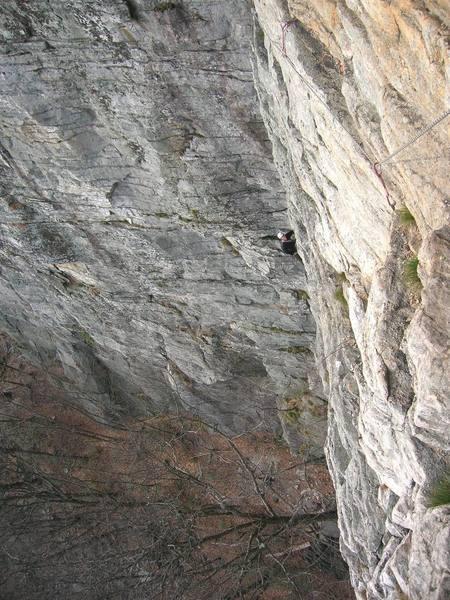 Climbing High E's first pitch.