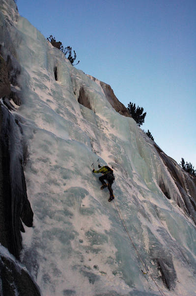 Me leading a WI3 in Lee Vining Canyon, California (pic by Steve Larson)