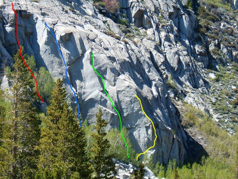 Wild Rose Buttress near South Lake, above Bishop. Red is Thin Man, blue is Wild Rose, green is Bob-bob-a-ramp, yellow is Over & Out.