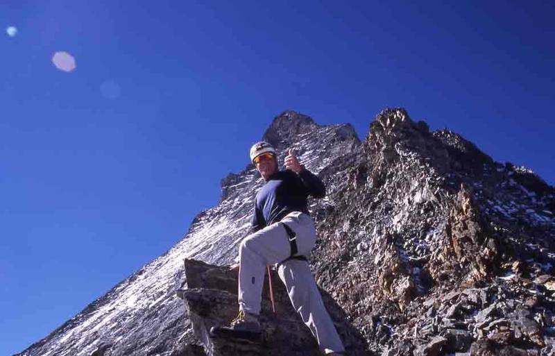 Midway up the Hornli Ridge on the Matterhorn.  Mid Sept. 2003.  With snow the week before, most parties cancelled their climb.  I got lucky w/ perfect weather!