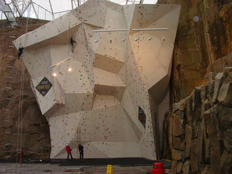 The competition wall at Ratho, Edinburgh, Scotland