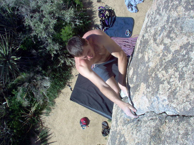 Jeremy doing some easy bouldering at J-Tree