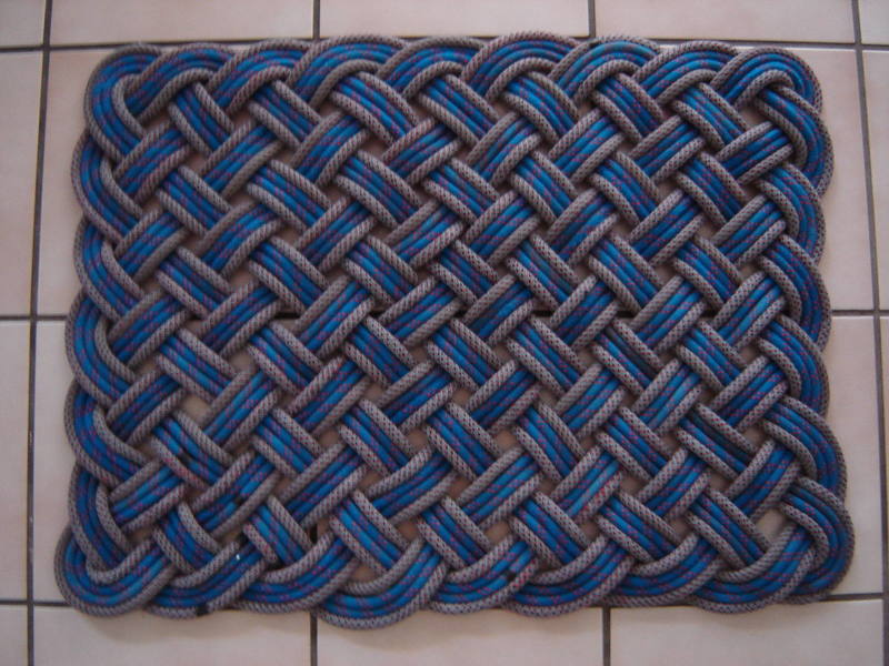 Paradise Rock Gym's rope rug; made from their own retired top-ropes.