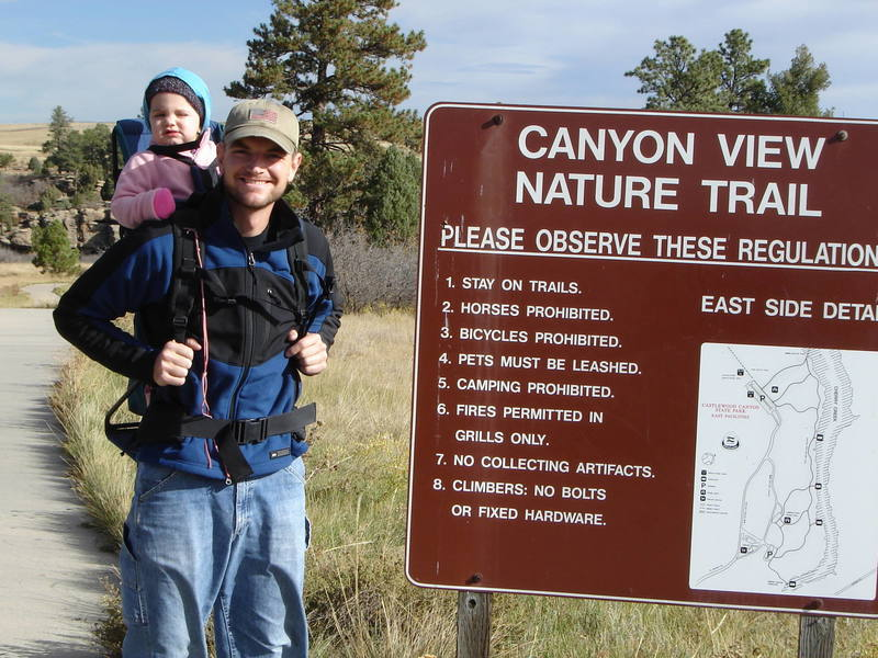 At the trailhead into Castlewood Canyon.