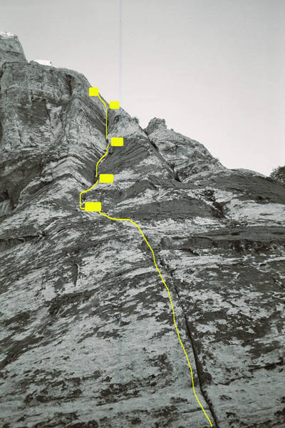 """The first 3 pitches of """"Bird Hunter Buttress,"""" showing both the main belays and intermediate stations."""