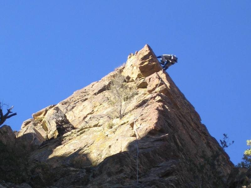 Romain Wacziarg on the upper reaches of Permanent Income Hypothesis, on the route's second lead ascent, January 23, 2007.