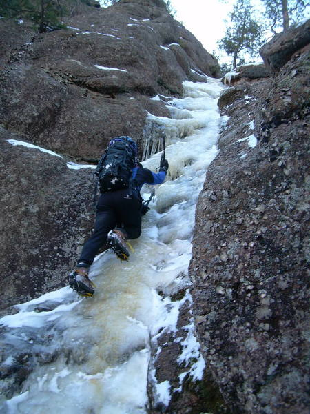A bit of ice on the way...A rope, a rack, a pack on my back.  WI2+.  Is it worth a separate submission?