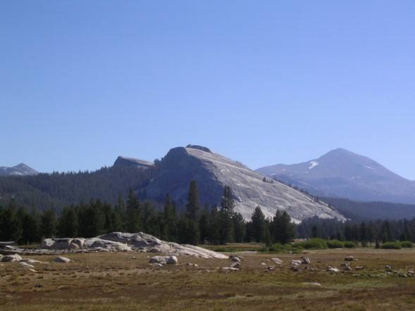 Lembert Dome, as seen from across the meadows. The dark, obviously steeper section of rock is where the technical climbing, such as Northwest Books, is located.