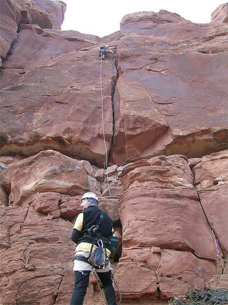 A picture of me belaying Ben on pitch one taken with a time-lapse function on a coolpix 5400.